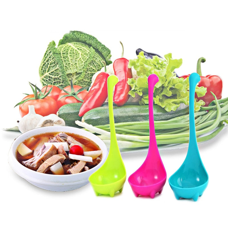 Cute Plastic Dinosaur Cooking Spoons - 3 Pack