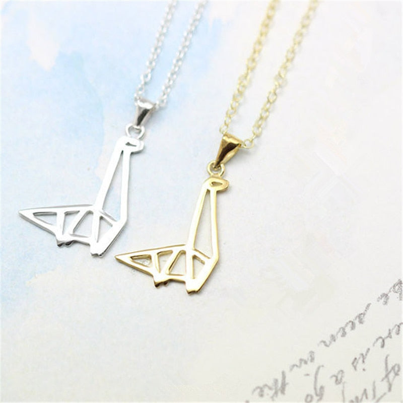 Beautiful Origami Dinosaur Necklace