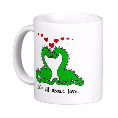 ''It's All About Love'' Cute Dinosaur Mugs