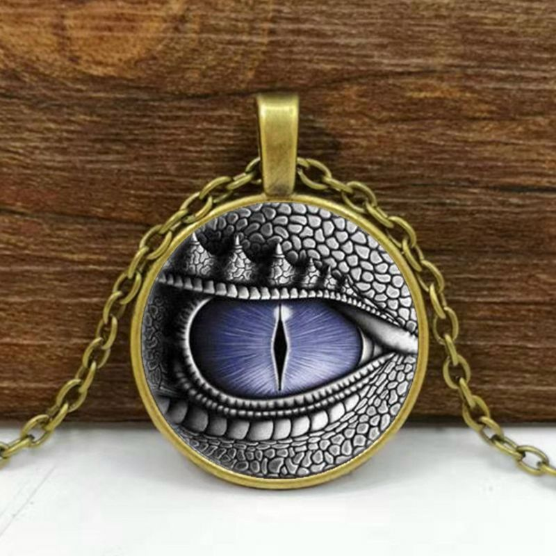 Mystery Colored Dragon Cat Eye Cabochon Glass Plated Pendant Popular Necklace