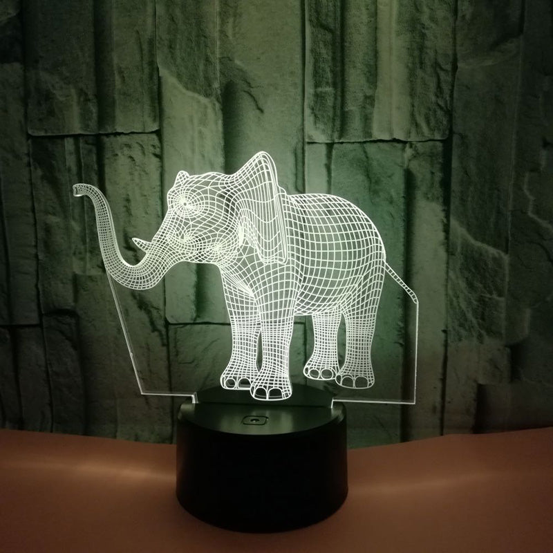 7 Color 3D Elephant LED Lamp