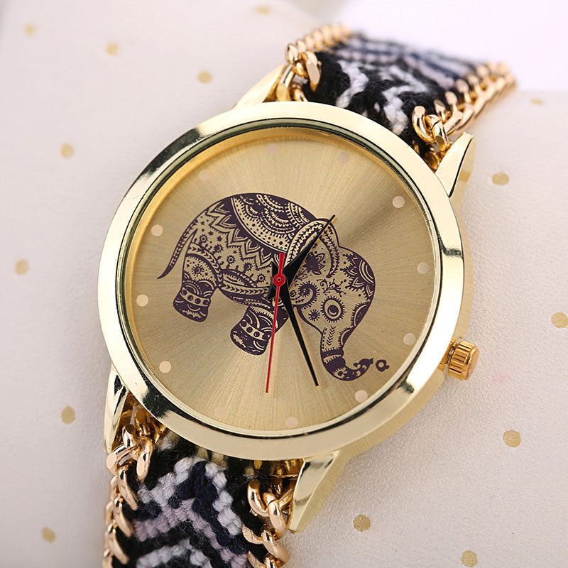 Braided Elephant Adorable Wristwatch