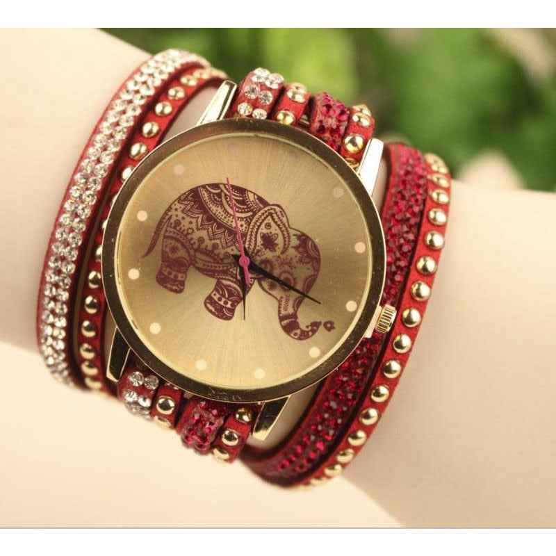 Diamond Elephant Round Wristwatch