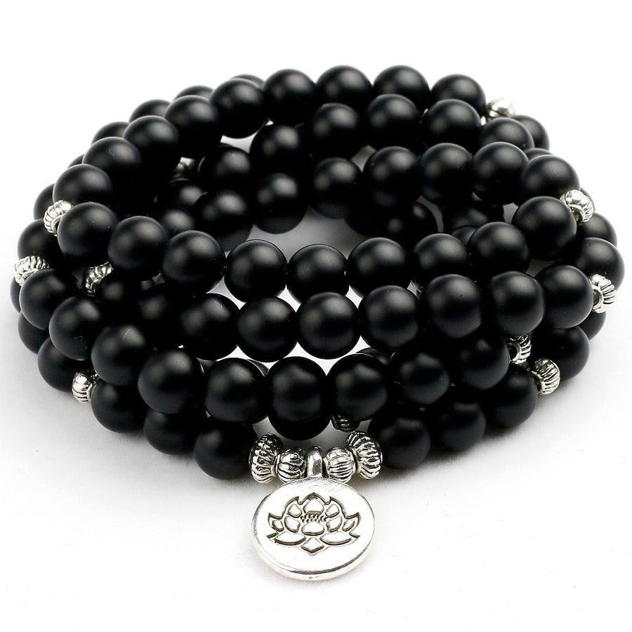 108 Black Onyx Lotus Mala Beads Bracelet & Necklace