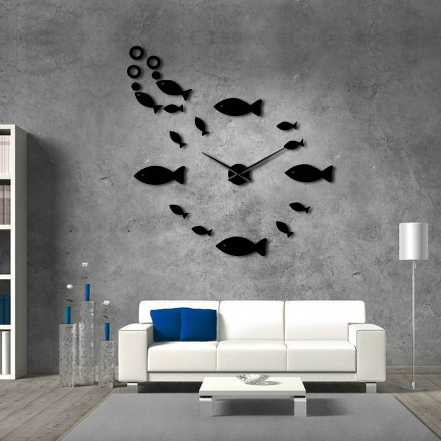 Fish Style Frameless Wall Clock
