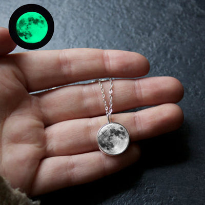 Elegant Glow In The Dark Full Moon Necklace