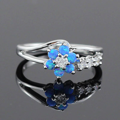 Flower Fire Opal Ring