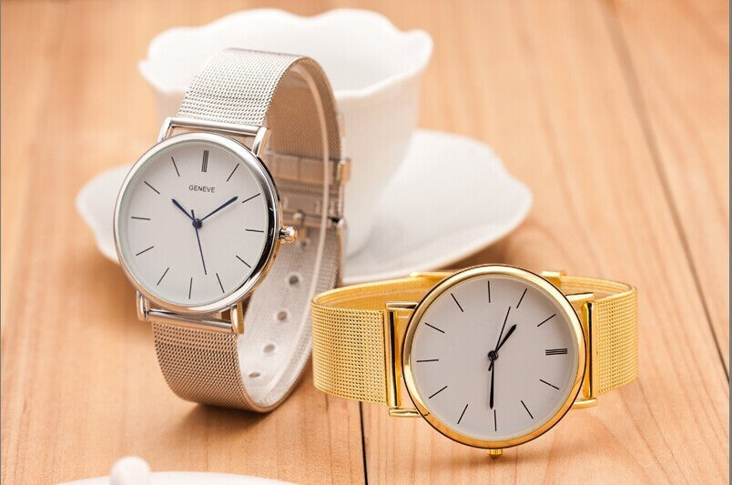 Silver Geneva Metal Mesh Quartz Watch