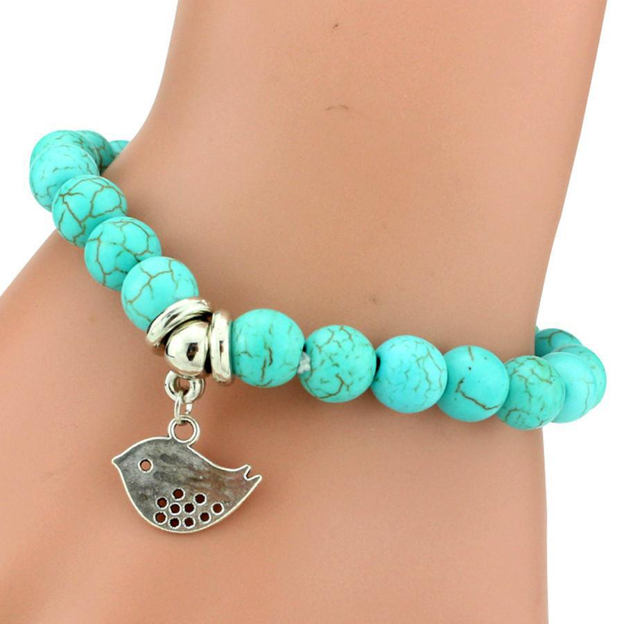Silver Bracelets With Charms: Turquoise Friendship Bracelet With Silver Plated Charms