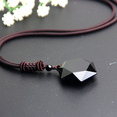 Black Obsidian Star Pendant Necklace