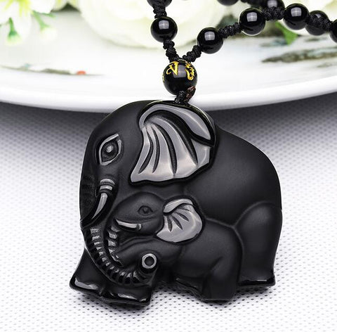 Natural Black Obsidian Carved Mother Elephant Necklace