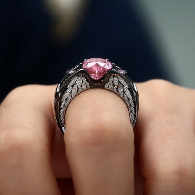 Black Gold Pink Angel's Heart Ring