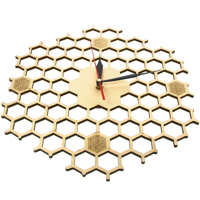 Honeycomb Inspired Wooden Wall Clock