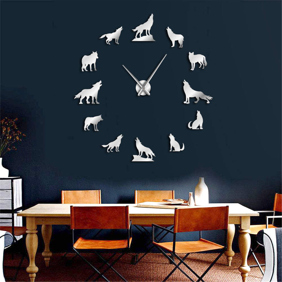 Howling Wolf Frameless Wall Clock