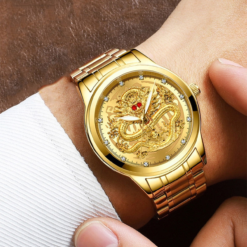 Dragon Waterproof Gold Diamond Watch