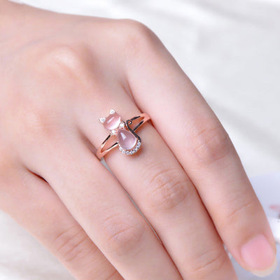 Pink Quartz Crystal Rose Gold Kitten Ring
