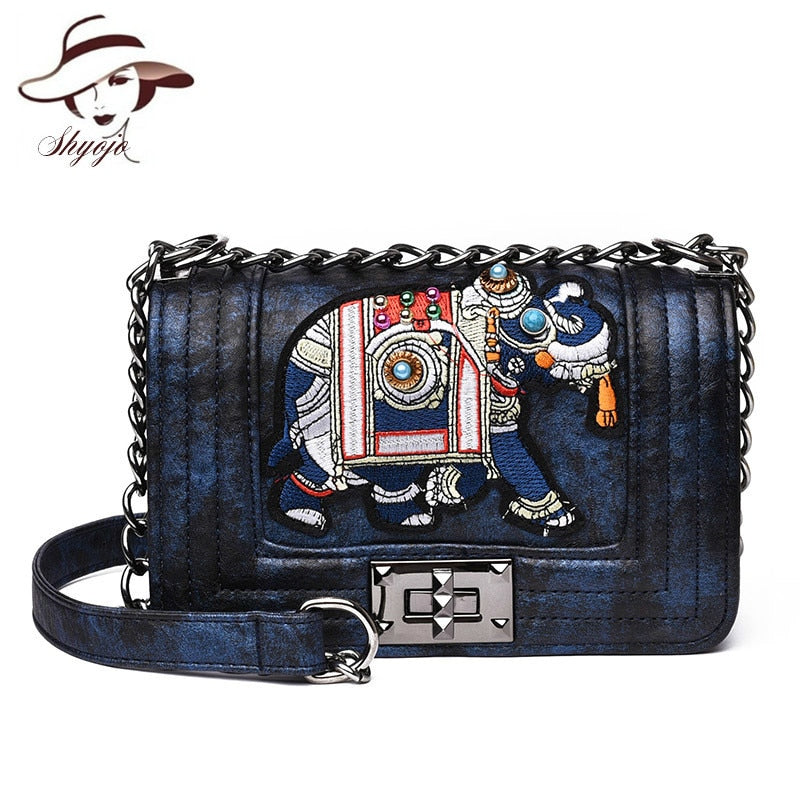 Elephant Embroidery Crossbody Handbag