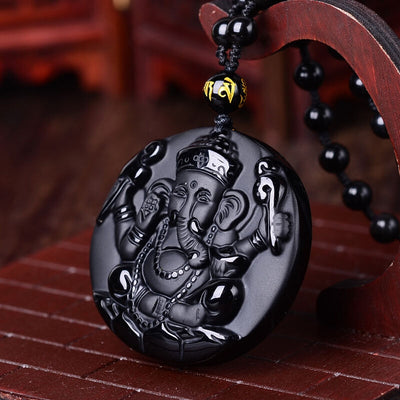 Natural Black Obsidian  Carved Ganesha Necklace