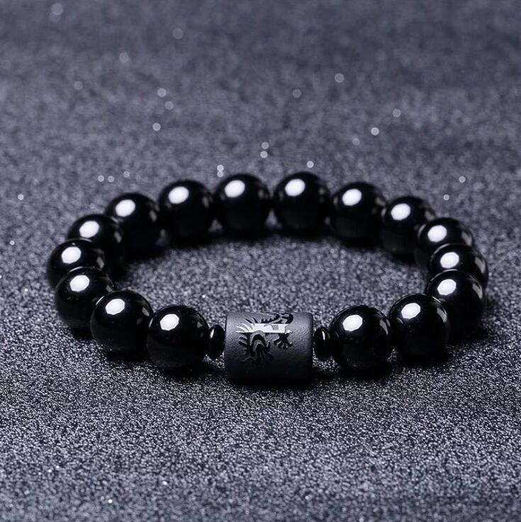 Black Dragon Obsidian Bead Lucky Bracelet