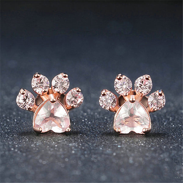 Rose Gold Dog Paw Earrings Treasure Fan