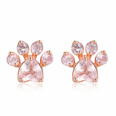 Rose Gold Dog Paw Earrings
