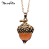 Crystal Acorn Oak Necklace