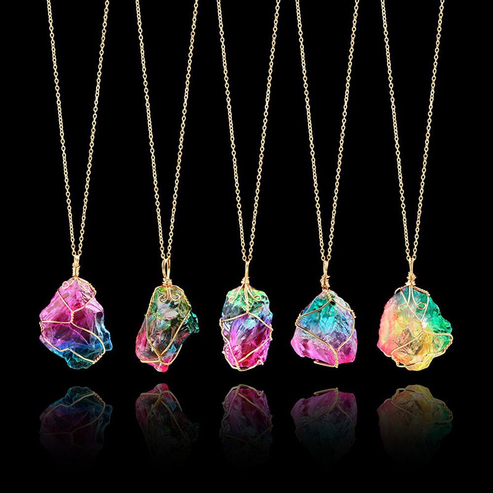 Rainbow quartz crystal necklace treasure fan rainbow quartz crystal necklace mozeypictures Image collections