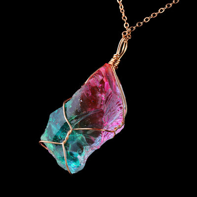 Rainbow Quartz Crystal Necklace