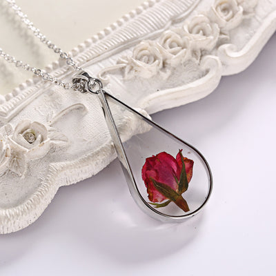 Red Rose Dried Flower Necklace