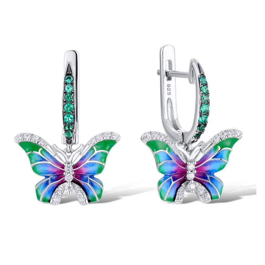 Butterfly Silver Zirconia Earrings