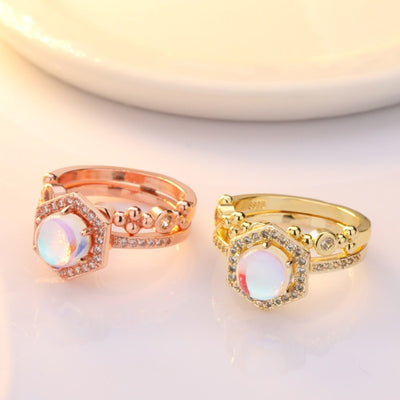 Austrian Crystal & Moonstone Ring