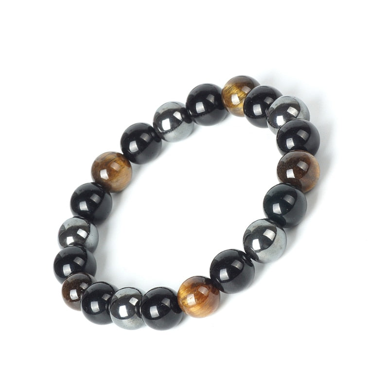 Supercharged Tiger Eye & Obsidian Stone Bracelet