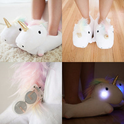 Plush Unicorn Light Up Slippers