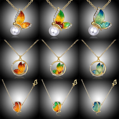 Pearl Butterfly Multicolored Pendant Necklace