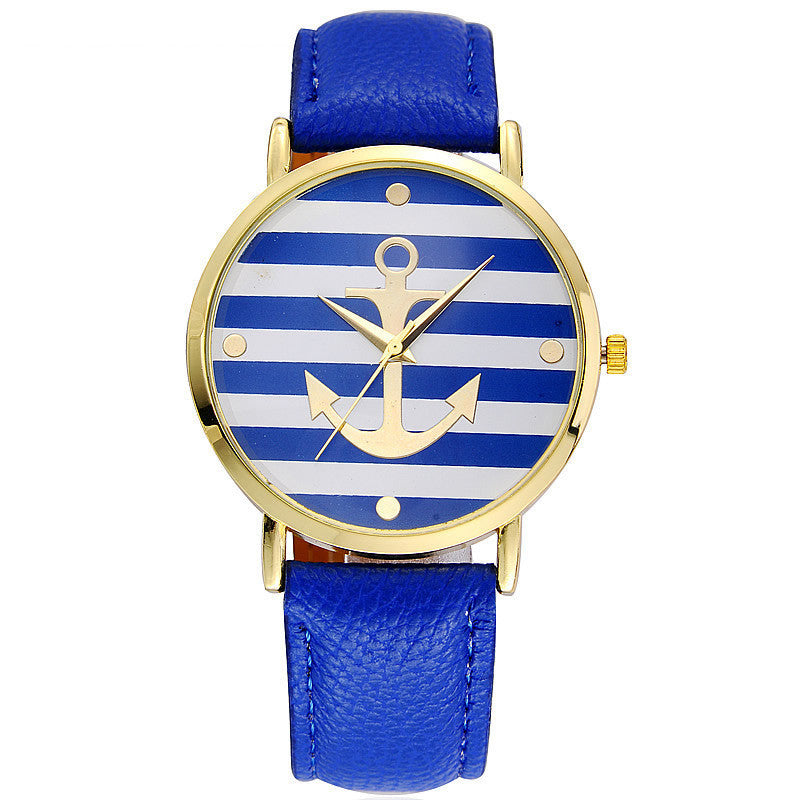 Leather Strap Anchor Quartz Watch