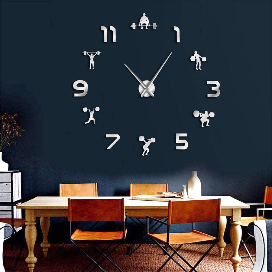 Motivational Frameless Wall Clock (Weightlifting Style)