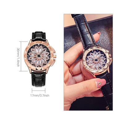 Luxurious Rotating Dial Leather Wristwatch