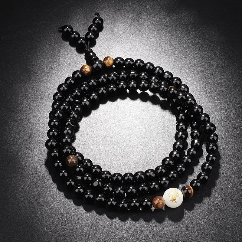 Black Dragon Onyx Beads Bracelet