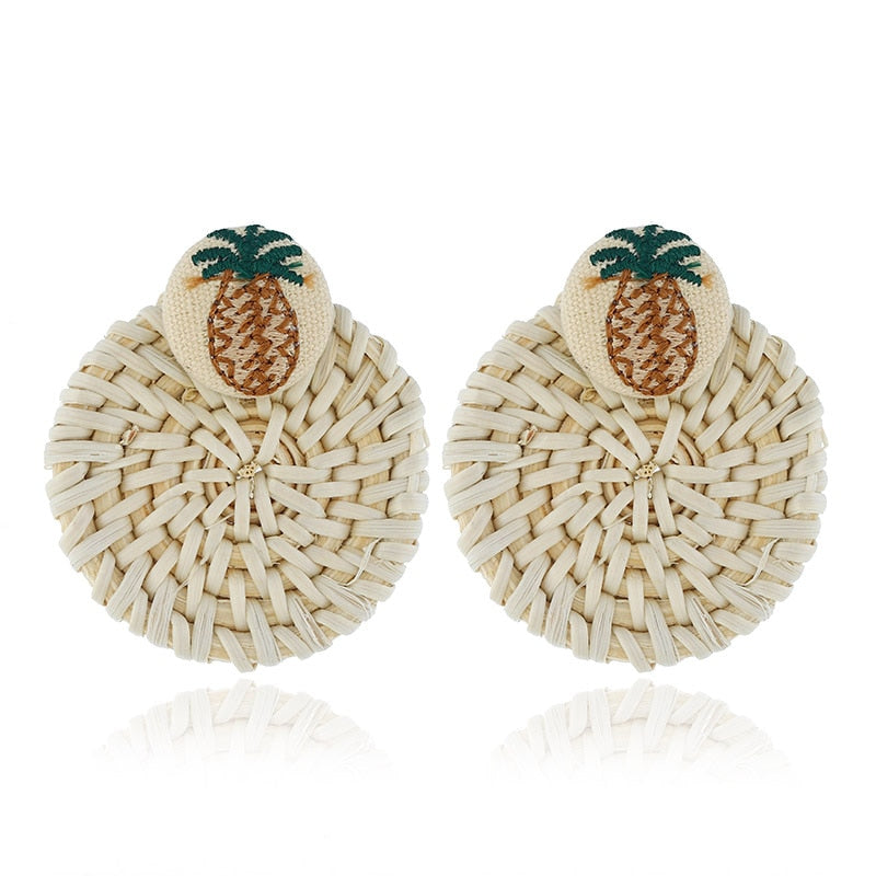 Pineapple Straw Weave Rattan Earrings