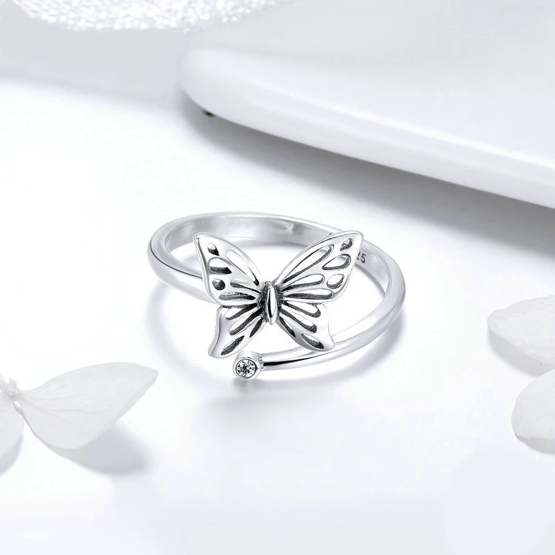 Silver Butterfly Adjustable Ring