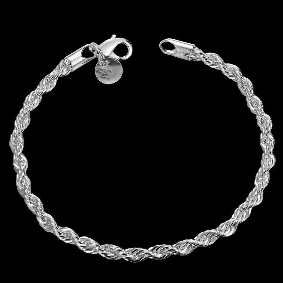 Beautiful Silver Plated Rope Bracelet