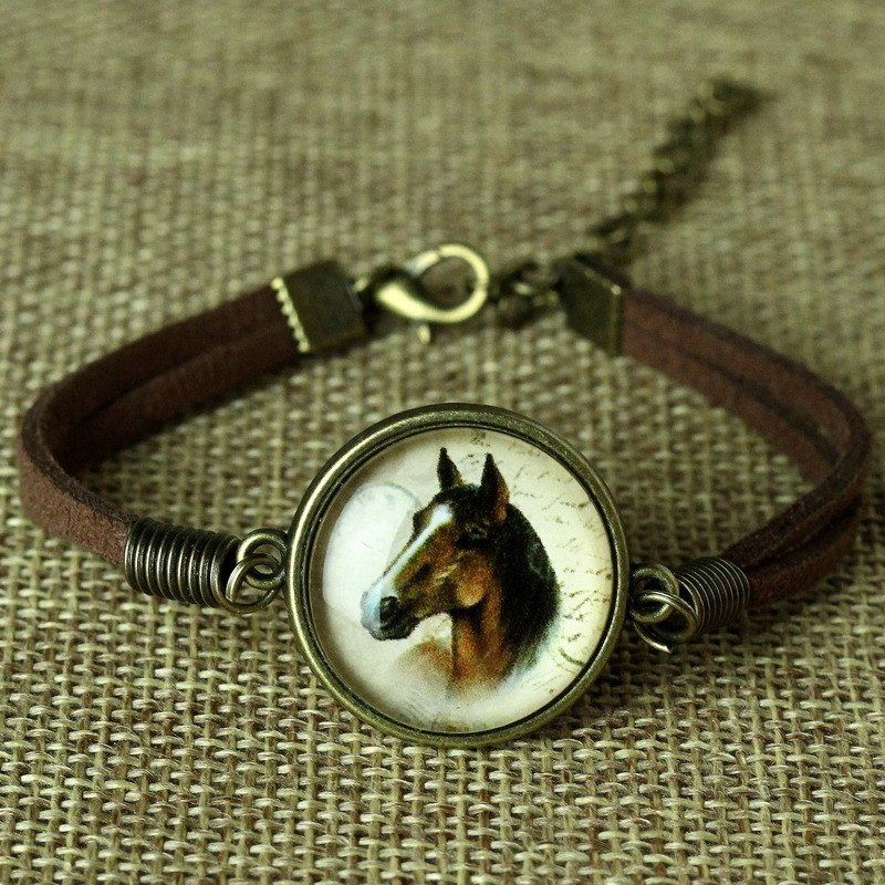 Custom Leather Glass Horse Bracelet