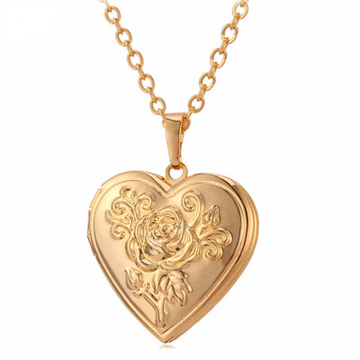 Vintage Rose Memory Heart Pendant Necklace