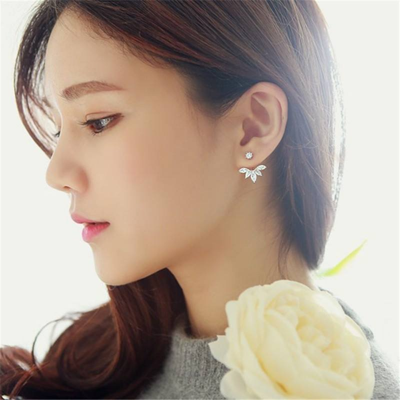 Earrings - Crystal Leaf Stud Earrings