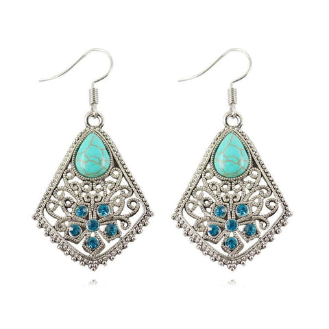 Earrings - Inlayed Waterdrop Shape Turquoise Earrings