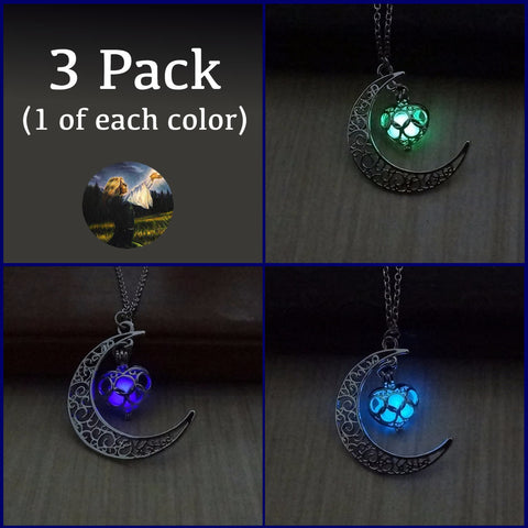 (3 Pack) Glowing Moon & Heart Silver Plated Necklace