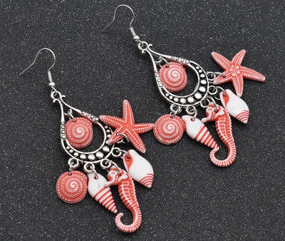 Beautiful Earrings - Dangling Seahorse