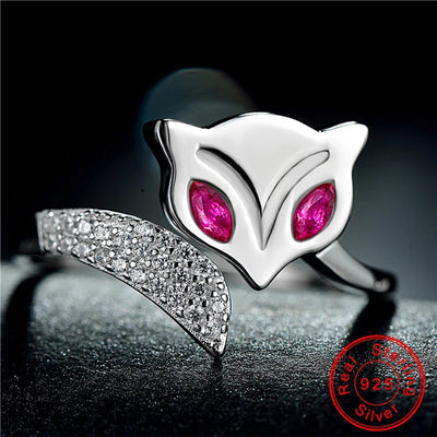 Fire Fox Sterling Silver Zircon Ring
