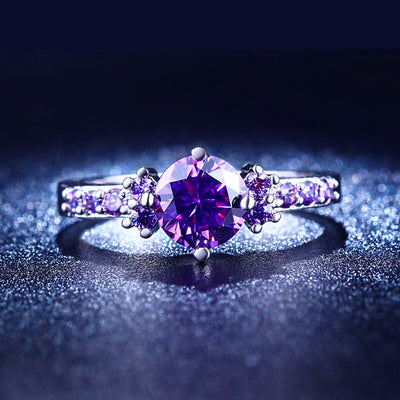 White Gold Plated Amethyst CZ Diamond Ring