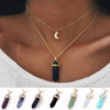 Two Layer Natural Stone Pendant Choker Necklaces